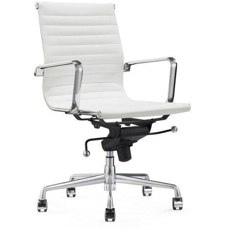 "Leder-Bürostuhl ""Valencia"" - Weiß - 100% Echtleder"