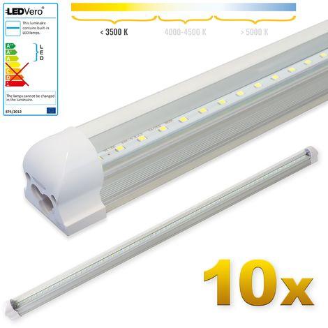 LEDVero 10x SMD LED Tubo 120cm integrado en blanco cálido - T8 G13 tubo Revestimiento transparente- 18 W, 1800 Lumen- listo para su instalación