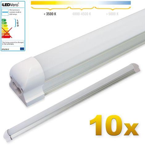 LEDVero 10x SMD LED Tubo 90cm integrado en blanco cálido - T8 G13 tubo Revestimiento mate - 14 W, 1400 Lumen- listo para su instalación