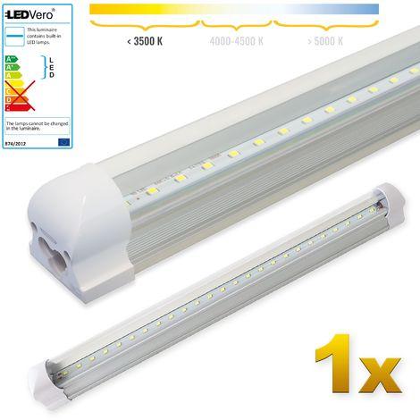 LEDVero 1x SMD LED Röhre 60 cm inklusive Fassung in warmweiss- Leuchtstoffröhre T8 G13 Tube transparent Abdeckung - Lichtleiste mit 8 W, 800lm- montagefertig