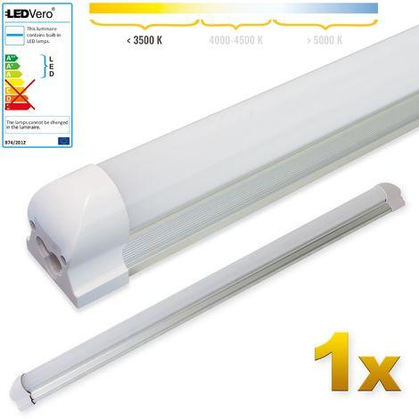 LEDVero 1x SMD LED Röhre 90 cm inklusive Fassung in warmweiss - Leuchtstoffröhre T8 G13 Tube milchige Abdeckung - Lichtleiste mit 14 W, 1400lm- montagefertig