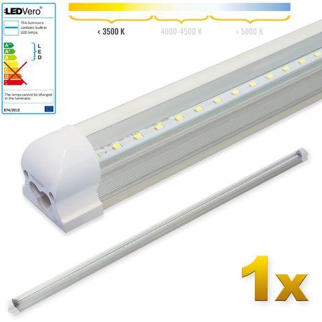 LEDVero 1x SMD LED Tubo 150cm integrado en blanco cálido - T8 G13 tubo Revestimiento transparente - 25 W, 2500 Lumen- listo para su instalación