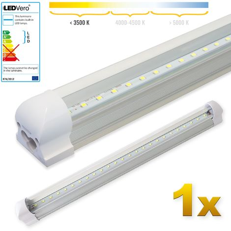 LEDVero 1x SMD LED Tubo 60cm integrado blanco cálido - T8 G13 tubo Revestimiento transparente- 8 W, 800 Lumen- listo para su instalación