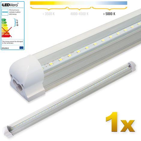 LEDVero 1x SMD LED Tubo 90cm integrado en blanco frío - T8 G13 tubo Revestimiento transparente - 14 W, 1400 Lumen- listo para su instalación