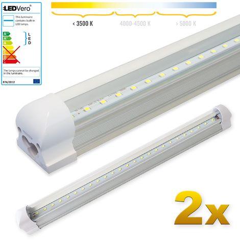 LEDVero 2x SMD LED Röhre 60 cm inklusive Fassung in warmweiss- Leuchtstoffröhre T8 G13 Tube transparent Abdeckung - Lichtleiste mit 8 W, 800lm- montagefertig
