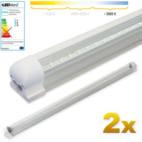 LEDVero 2x SMD LED Tubo 90cm integrado en blanco frío - T8 G13 tubo Revestimiento transparente - 14 W, 1400 Lumen- listo para su instalación