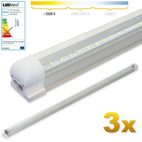 LEDVero 3x SMD LED Röhre 120 cm inkl. Fassung in warmweiss - Leuchtstoffröhre T8 G13 Tube transparent Abdeckung - Lichtleiste mit 18 W, 1800lm- montagefertig