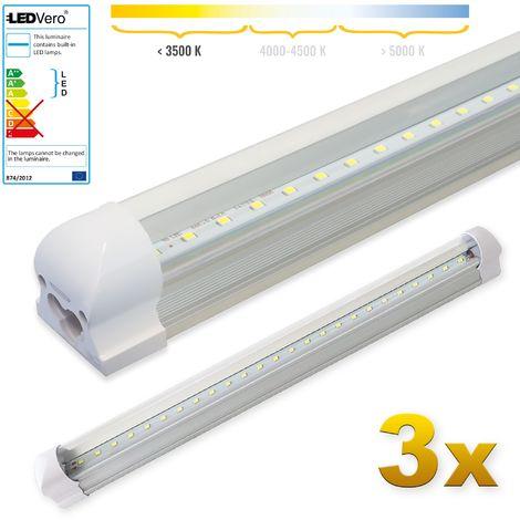 LEDVero 3x SMD LED Tubo 60cm integrado blanco cálido - T8 G13 tubo Revestimiento transparente- 8 W, 800 Lumen- listo para su instalación