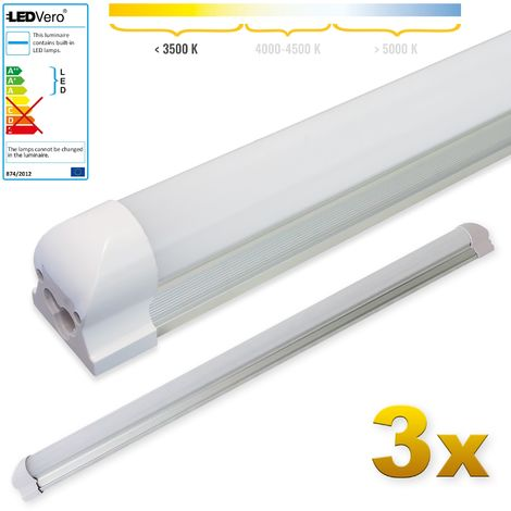 LEDVero 3x SMD LED Tubo 90cm integrado en blanco cálido - T8 G13 tubo Revestimiento mate - 14 W, 1400 Lumen- listo para su instalación