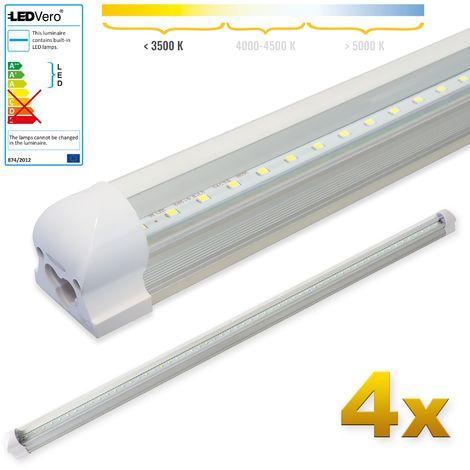 LEDVero 4x SMD LED Tubo 120cm integrado en blanco cálido - T8 G13 tubo Revestimiento transparente- 18 W, 1800 Lumen- listo para su instalación
