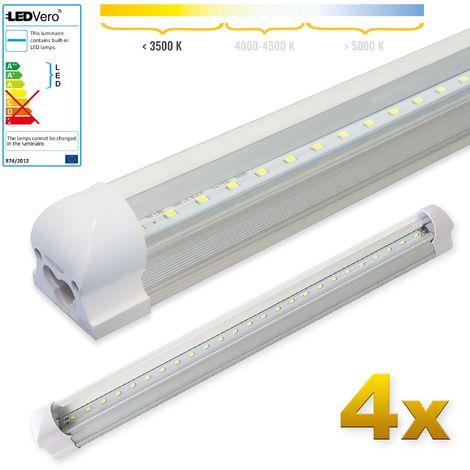 LEDVero 4x SMD LED Tubo 60cm integrado blanco cálido - T8 G13 tubo Revestimiento transparente- 8 W, 800 Lumen- listo para su instalación