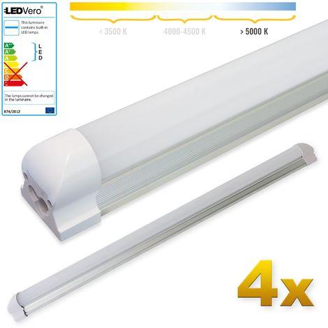 LEDVero 4x SMD LED Tubo 90cm integrado en blanco frío - T8 G13 tubo Revestimiento mate - 14 W, 1400 Lumen- listo para su instalación