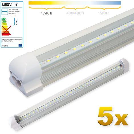 LEDVero 5x SMD LED Röhre 60 cm inklusive Fassung in warmweiss- Leuchtstoffröhre T8 G13 Tube transparent Abdeckung - Lichtleiste mit 8 W, 800lm- montagefertig