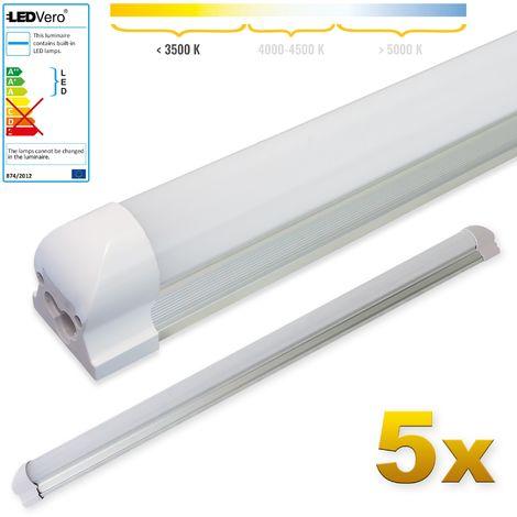 LEDVero 5x SMD LED Röhre 90 cm inklusive Fassung in warmweiss - Leuchtstoffröhre T8 G13 Tube milchige Abdeckung - Lichtleiste mit 14 W, 1400lm- montagefertig