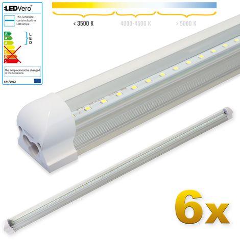LEDVero 6x SMD LED Röhre 120 cm inkl. Fassung in warmweiss - Leuchtstoffröhre T8 G13 Tube transparent Abdeckung - Lichtleiste mit 18 W, 1800lm- montagefertig