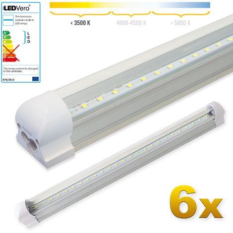 LEDVero 6x SMD LED Röhre 60 cm inklusive Fassung in warmweiss - Leuchtstoffröhre T8 G13 Tube transparent Abdeckung - Lichtleiste mit 8 W, 800lm- montagefertig
