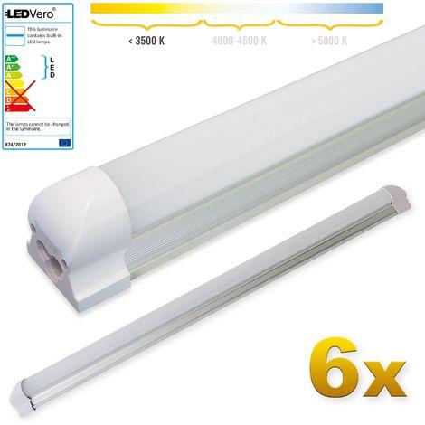 LEDVero 6x SMD LED Röhre 90 cm inklusive Fassung in warmweiss - Leuchtstoffröhre T8 G13 Tube milchige Abdeckung - Lichtleiste mit 14 W, 1400lm- montagefertig
