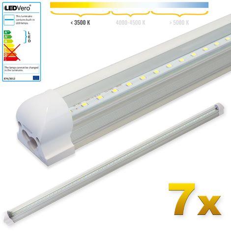 LEDVero 7x SMD LED Röhre 120 cm inkl. Fassung in warmweiss - Leuchtstoffröhre T8 G13 Tube transparent Abdeckung - Lichtleiste mit 18 W, 1800lm- montagefertig