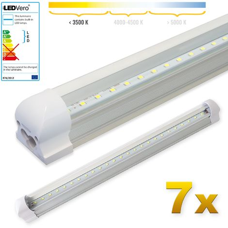 LEDVero 7x SMD LED Röhre 60 cm inklusive Fassung in warmweiss- Leuchtstoffröhre T8 G13 Tube transparent Abdeckung - Lichtleiste mit 8 W, 800lm- montagefertig