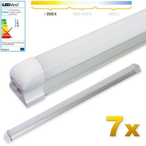 LEDVero 7x SMD LED Röhre 90 cm inklusive Fassung in warmweiss - Leuchtstoffröhre T8 G13 Tube milchige Abdeckung - Lichtleiste mit 14 W, 1400lm- montagefertig