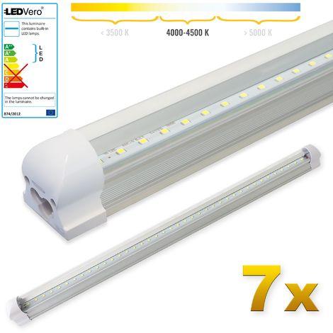 LEDVero 7x SMD LED Tubo 90cm integrado en blanco neutro- T8 G13 tubo Revestimiento transparente - 14 W, 1400 Lumen- listo para su instalación