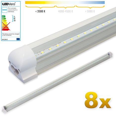 LEDVero 8x SMD LED Tubo 120cm integrado en blanco cálido - T8 G13 tubo Revestimiento transparente- 18 W, 1800 Lumen- listo para su instalación
