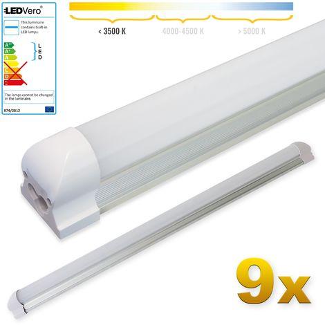 LEDVero 9x SMD LED Tubo 90cm integrado en blanco cálido - T8 G13 tubo Revestimiento mate - 14 W, 1400 Lumen- listo para su instalación