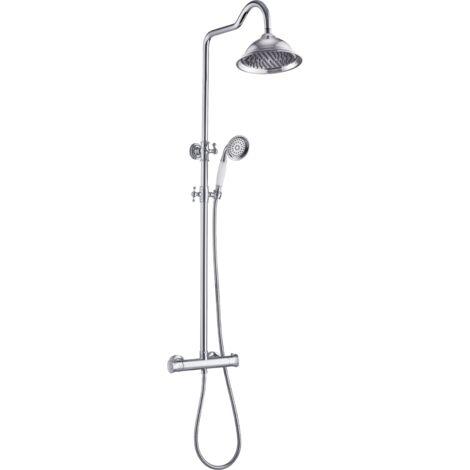 Leeds colonne de douche rétro chromée thermostatique - Chromé