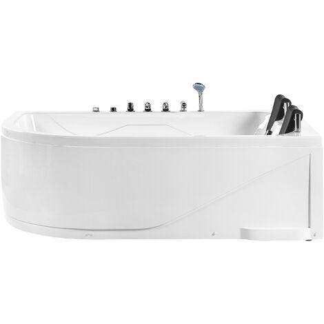 Left Corner Whirlpool Bath LED Lights Headrests White Acrylic Calama