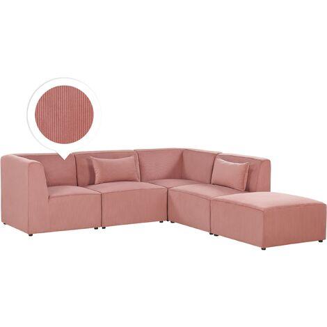 Left Hand 4 Seater Modular Corduroy Corner Sofa with Ottoman Pink LEMVIG