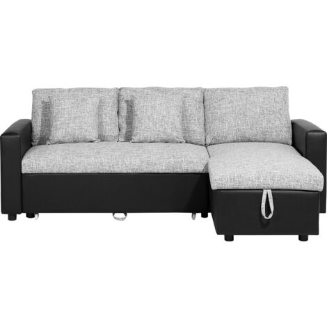 Left Hand Corner Fabric Sofa Bed Grey TAMPERE