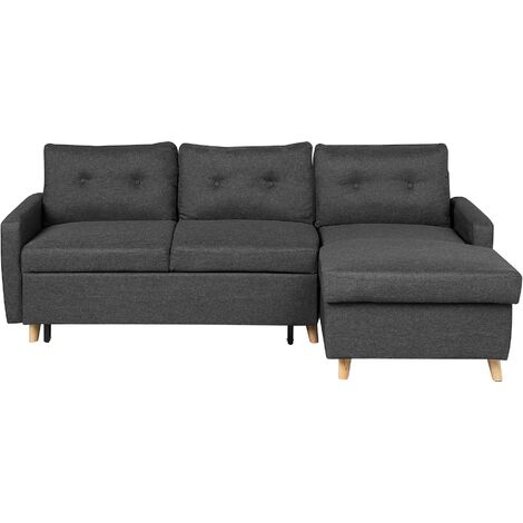 Left Hand Corner Sofa Bed with Storage Dark Grey FLAKK
