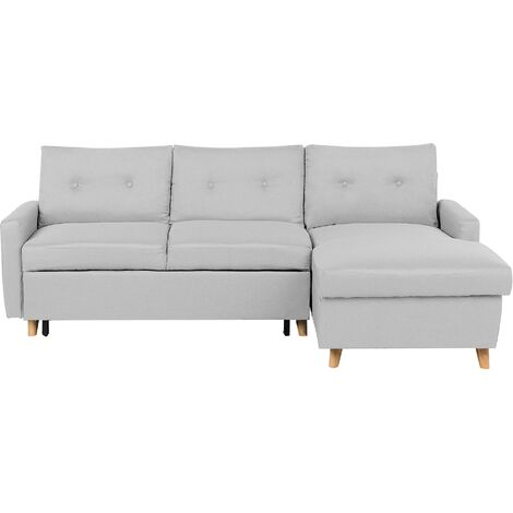 Left Hand Corner Sofa Bed with Storage Light Grey FLAKK
