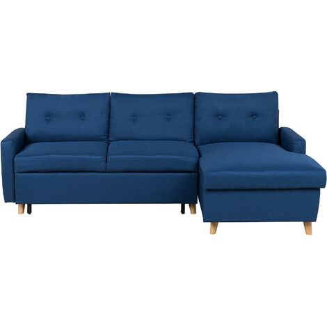 Left Hand Corner Sofa Bed with Storage Navy Blue FLAKK