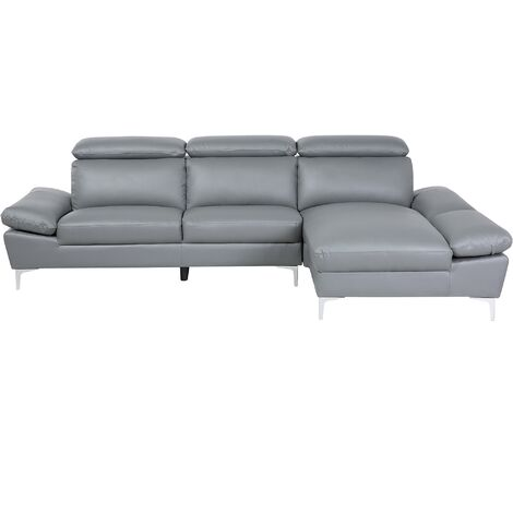 Left Hand Corner Sofa Leather Grey FARILA