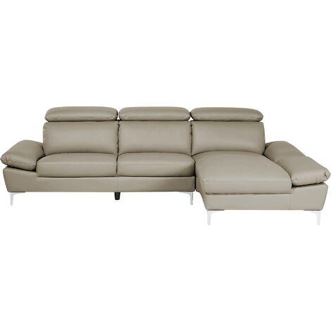 Left Hand Corner Sofa Leather Taupe Beige FARILA