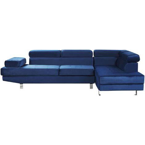 Left Hand Corner Velvet Sofa Navy Blue NORREA
