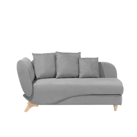 Left Hand Fabric Chaise Lounge with Storage Light Grey MERI
