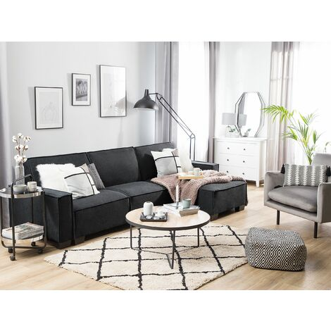 Left Hand Fabric Corner Sofa Bed Graphite Grey ROMEDAL
