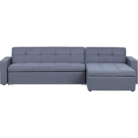 Left Hand Fabric Corner Sofa Bed Grey LAURILA