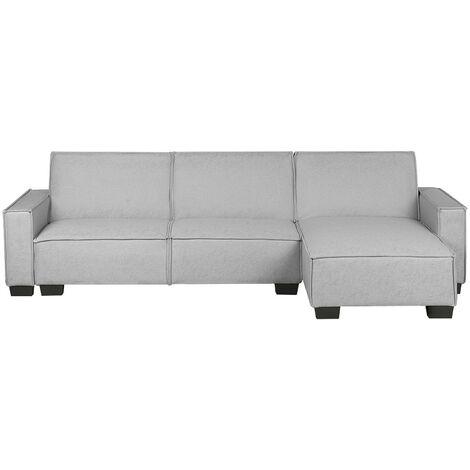 Left Hand Fabric Corner Sofa Bed Light Grey ROMEDAL