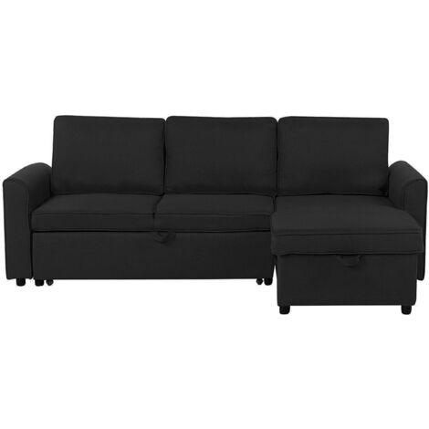 Left Hand Fabric Corner Sofa Bed with Storage Black NESNA