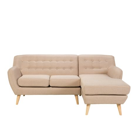 Left Hand Fabric Corner Sofa Beige MOTALA