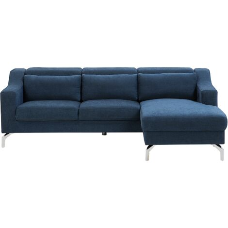 Left Hand Fabric Corner Sofa Blue GLOSLI