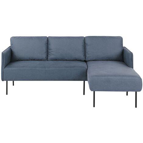 Left Hand Fabric Corner Sofa Blue VERRAN