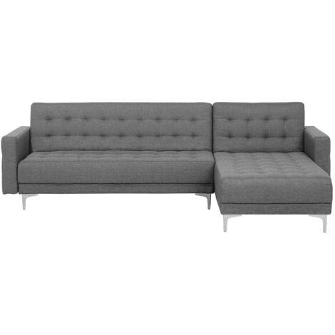 Left Hand Fabric Corner Sofa Grey ABERDEEN