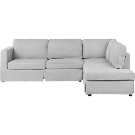Left Hand Fabric Corner Sofa Light Grey HOLMEN
