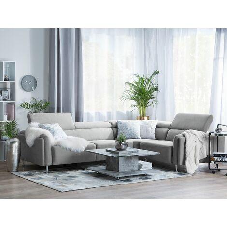 Left Hand Fabric Corner Sofa Light Grey HOSTON