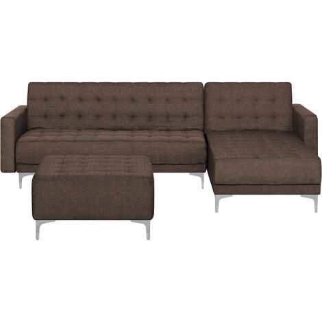 Left Hand Fabric Corner Sofa with Ottoman Brown ABERDEEN