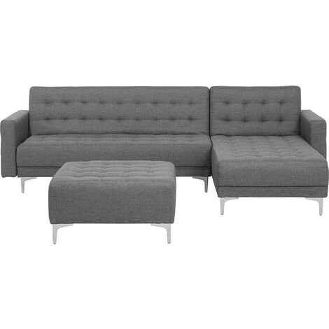 Left Hand Fabric Corner Sofa with Ottoman Grey ABERDEEN